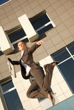 Jumping businesswoman Royalty Free Stock Images