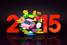 Jumping Car, New Year Ornament, 2015, Greeting On Black Stock Image