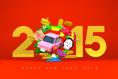 Jumping Car, New Year Ornament, 2015, Greeting On Red Royalty Free Stock Photography