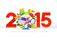 Jumping Car, New Year Ornament, 2015, Greeting On White Royalty Free Stock Photo