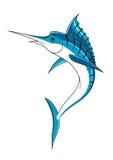 Jumping cartoon blue marlin fish Royalty Free Stock Photography
