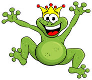Jumping cartoon frog prince isolated on white Stock Photos