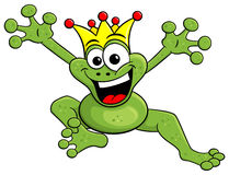 Jumping cartoon frog prince isolated on white Royalty Free Stock Photo
