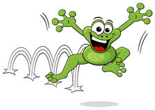 Jumping cartoon frog  on white Royalty Free Stock Photo