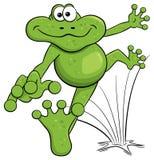 Jumping cartoon frog  on white Stock Photos