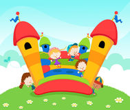 Jumping Castle. Group of children jumping on a bouncy castle Royalty Free Stock Image
