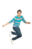 Jumping casual man Royalty Free Stock Image