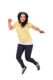 Jumping casual woman Stock Images