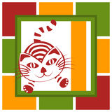 Jumping Cat Greeting Card. Square invitation or greeting card with an jumping cat. A vertical banner to write message Royalty Free Stock Images