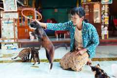 Jumping Cat Monastery, Myanmar. Heho, Myanmar - March 02, 2011 : Burmese woman performing a show with jumping cats trained by the monks. This performance which Stock Image