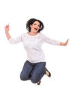 Jumping cheerful woman Royalty Free Stock Photos