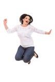Jumping cheerful woman royalty free stock photos