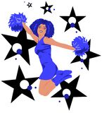 Jumping cheerleader - black, blue, white. Beautiful cheerleader with long afro hair jumping surrounded by colorful stars & dots. The colors (black, blue, white) Stock Photos