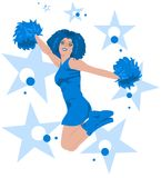 Jumping cheerleader - blue, white. Beautiful cheerleader with long afro hair jumping surrounded by colorful stars & dots. The colors (blue, white) go well with Stock Image