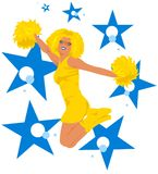 Jumping cheerleader - blue, yellow. Beautiful cheerleader with long afro hair jumping surrounded by colorful stars & dots. The colors (blue, yellow) go well with Royalty Free Stock Photo