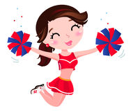 Jumping cheerleader girl isolated on white. Cute happy cheerleader. Vector cartoon Illustration Royalty Free Stock Images