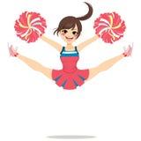 Jumping Cheerleader Girl. Young teenage cheerleader girl jumping happy with legs spread stock illustration