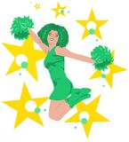 Jumping cheerleader - green, white, yellow. Beautiful cheerleader with long afro hair jumping surrounded by colorful stars & dots. The colors (green, white Royalty Free Stock Photos