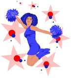Jumping cheerleader - red, blue, white. Beautiful cheerleader with long afro hair jumping surrounded by colorful stars & dots. The colors (red, blue, white) go Stock Photos