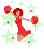 Jumping cheerleader - red, green, white. Beautiful cheerleader with long afro hair jumping surrounded by colorful stars & dots. The colors (red/orange, green Stock Photo
