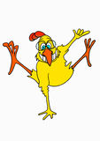 Jumping Chicken. A jumping yellow smiling chicken with glasses Royalty Free Stock Images