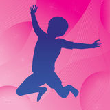 Jumping Child & Abstract Background. Silhouette of a happy jumping child against an abstract background of stars, circles and wavy lines stock illustration