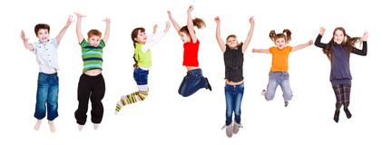 Jumping children stock images