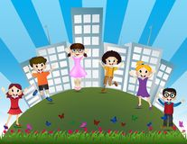 Jumping children with the background of city building Royalty Free Stock Photography