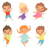 Jumping children. Cute surprised playing crazy happy kids male and female boys and girls vector cartoon characters stock illustration