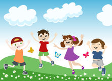 Jumping children illustration Stock Photos