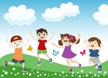 Jumping children illustration stock photos