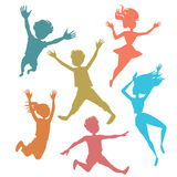 Jumping children silhouettes vector illustration