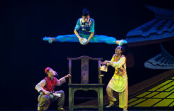 Jumping Chinese modern dancers Royalty Free Stock Photo