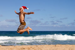 Jumping for Christmas Joy Royalty Free Stock Image