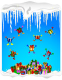 Jumping christmas presents - cold winter Royalty Free Stock Photography