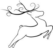 Jumping Christmas Reindeer Royalty Free Stock Photography