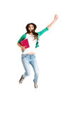 Jumping college / university student Royalty Free Stock Photos