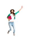 Jumping college / university student Stock Photography