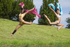 Jumping color royalty free stock images