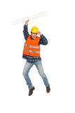 Jumping construction worker. Stock Images