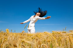 Jumping corn field Stock Image