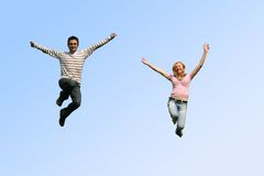 jumping couple Stock Photo