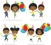 Jumping cute African-American couples carrying colorful wrapped. Gift boxes and bright balloons. Happy Birthday celebration. Flat style vector illustration for Royalty Free Stock Photos