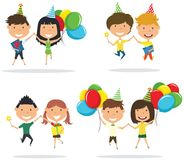 Jumping cute couples carrying colorful wrapped gift boxes and br. Ight balloons. Happy Birthday celebration. Flat style vector illustration for greeting card and Stock Images