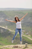 Jumping Cute Woman Royalty Free Stock Photo