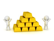 Jumping 3D Characters and Stack of Large Gold Bars. 3D characters jumping and cheering next to a stack of large gold bars.  on white background Stock Photo