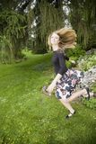 Jumping dalina. Shooting in the Geneva botanic garden Royalty Free Stock Images