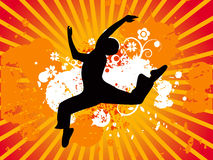 Jumping dance silhouette, vectorial illustration Royalty Free Stock Images