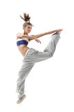 Jumping dancer Stock Images