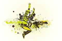 Jumping and dancing people. On abstract fresh background with grunge design elements Royalty Free Stock Photo